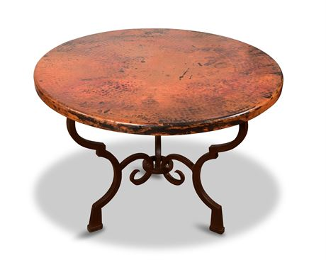 Hammered Copper Table with Iron Base