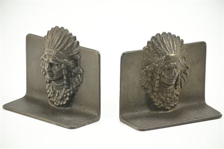 Antique Cast Bronze Indian Chief Bookends