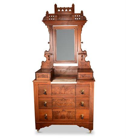 Antique Eastlake Victorian Walnut Dresser with Mirror