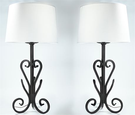 Pair Wrought Iron Lamps