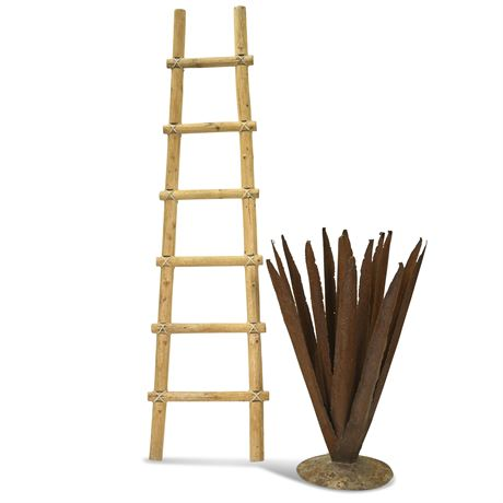 Metal Agave Sculpture and Kiva Ladder