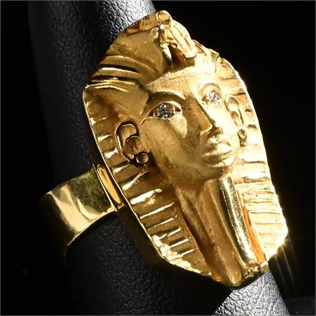 18K Solid Gold Heavy Egyptian Tut Ring