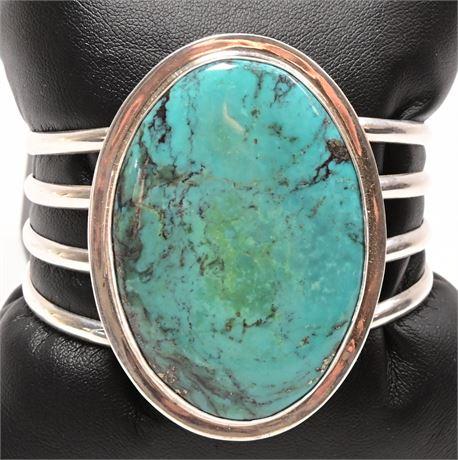 Navajo Sterling Kingman Turquoise Charles Albert Cuff