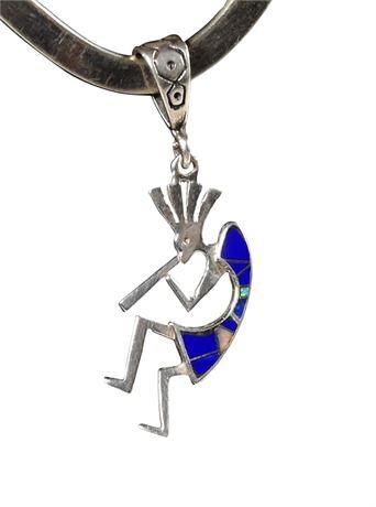 Sterling Inlay Kokopelli Pendant
