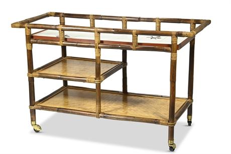 Hollywood Regency Ficks Reed Rattan Bar Cart