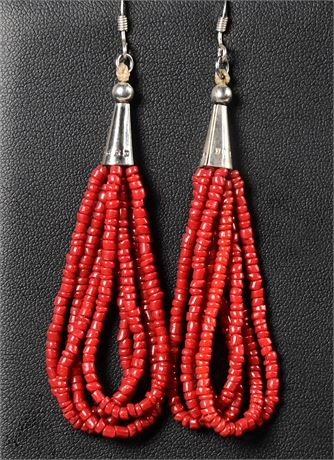 Vintage Sterling and Coral Earrings