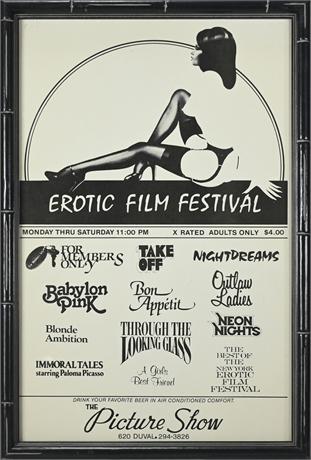 1960's Erotic Film Festival Poster Framed