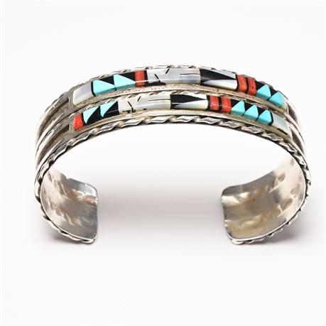 Zuni Sterling Inlay Bracelet by Quintin Bowannie