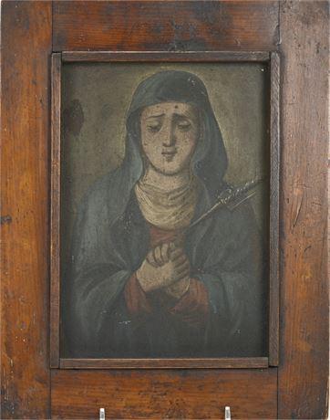 Antique Our Lady of Sorrows Retablo