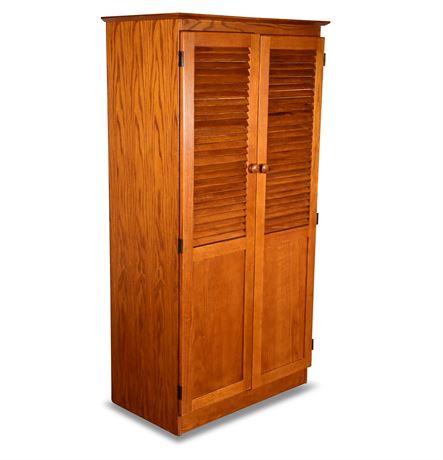Louvered Oak Cabinet