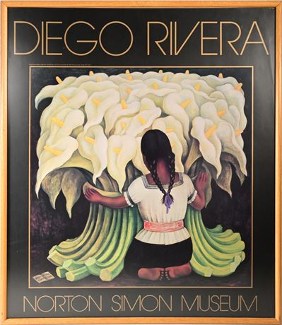 "Diego Rivera ""Girl with Lilies"" Framed Poster"
