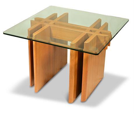 Gustav Gaarde Trekanten Danish Teak Glass Top Table