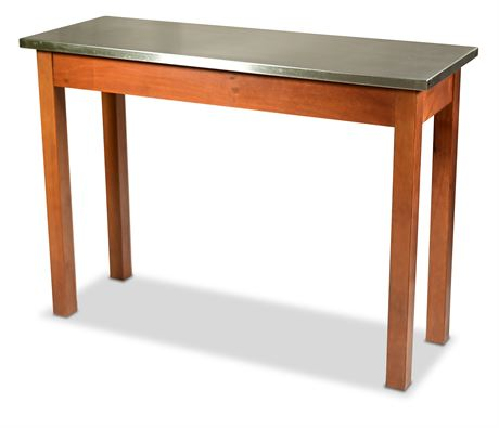 Contemporary Stainless Steel and Wood Console Table