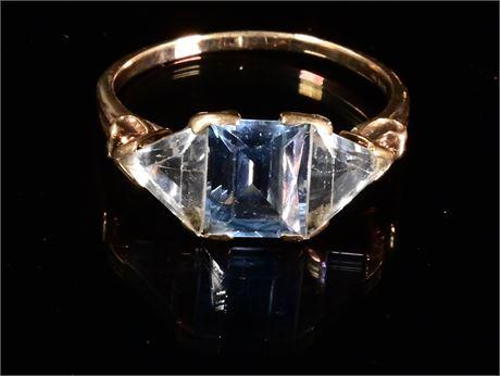 10k Gold Aquamarine and CZ Ring