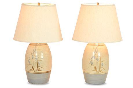 Pair Stoneware Lamps