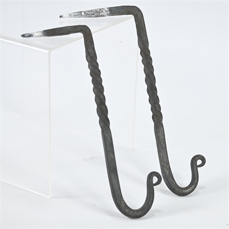 Pair Hand Forged Iron Hooks