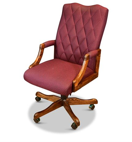 Upholstered Oak Executive Chair