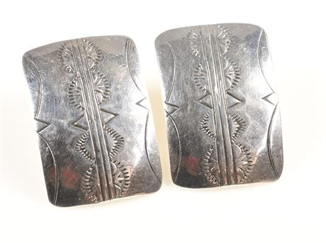 Presley and Della Curley Sterling Silver Navajo Earrings