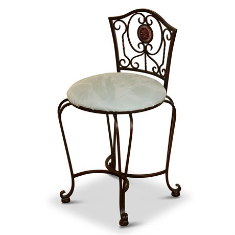Vintage Wrought Iron Vanity Stool