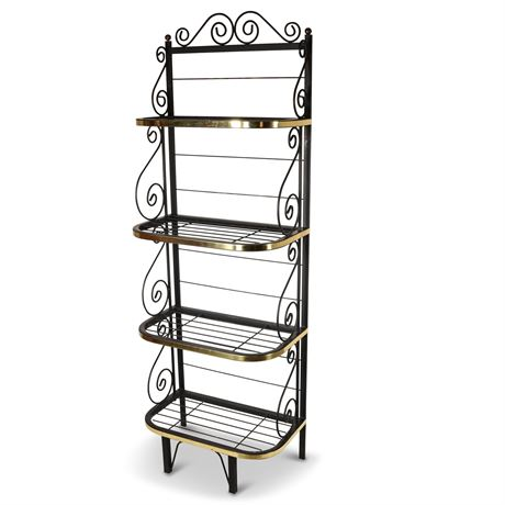 Iron and Brass Bakers Rack