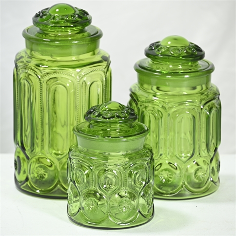 Set (3) Vintage Emerald Green Canisters