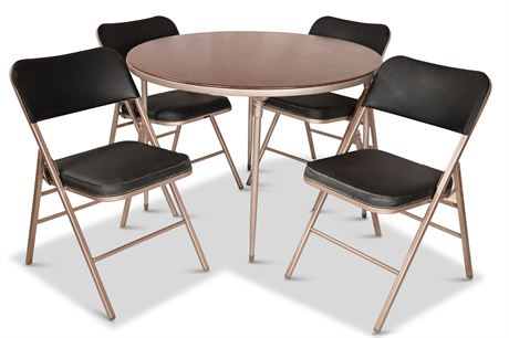 Round Folding Card Table and Four Chairs