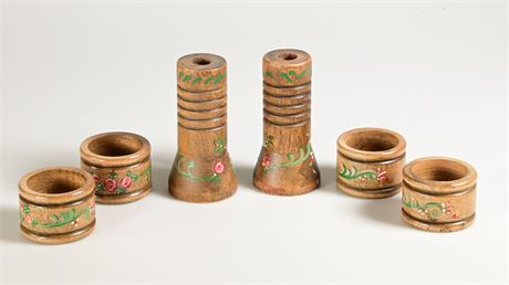 Hand Painted Wood Candle Holders with 4 Napkin Rings