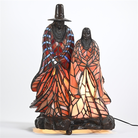 Stained Glass and Bronze Native American Themed Lamp