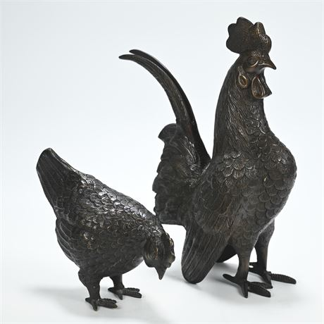 Bronze Rooster and Chicken Sculptures