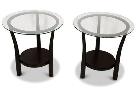 Contemporary Glass and Iron Side Tables