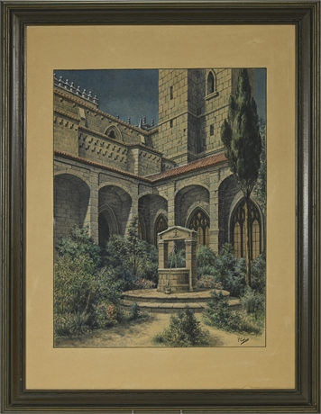 Detailed P. Calvo Original Watercolor