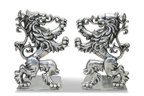 Mid-Century Cast Aluminum Lion Bookends