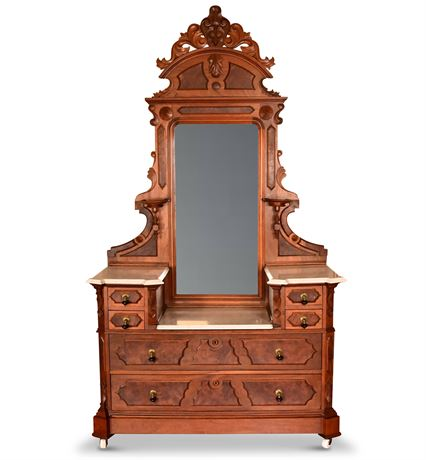 Antique Victorian Walnut Burl Drop Center Marble Top Dresser