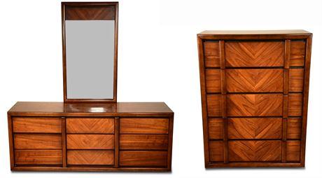 Mid-Century Lane Walnut Chest and Dresser with Mirror