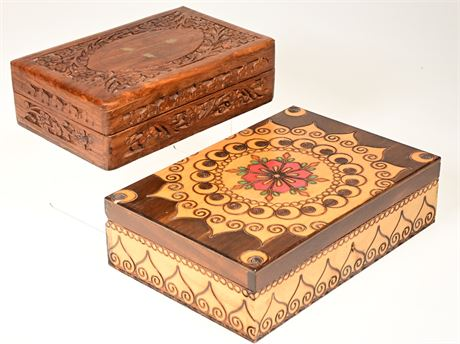 Carved Boxes with Brass Inlay