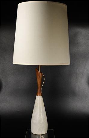 Mid-Century Marble and Walnut Lamp