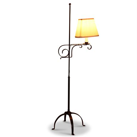 Antique Wrought Iron Adjustable Height Lamp