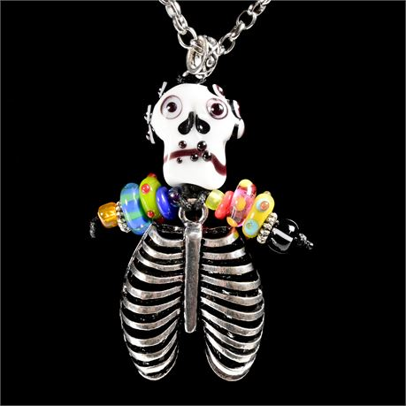 Blown Glass Day of Dead Necklace
