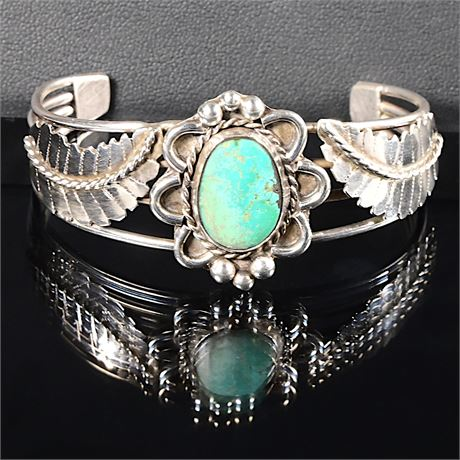Navajo Silversmith Sterling and Turquoise Bracelet