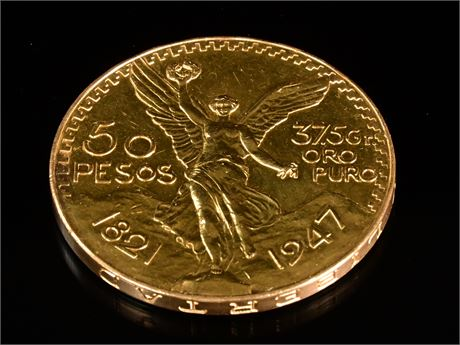 1947 Mexico 50 Pesos Libertad  Gold Coin