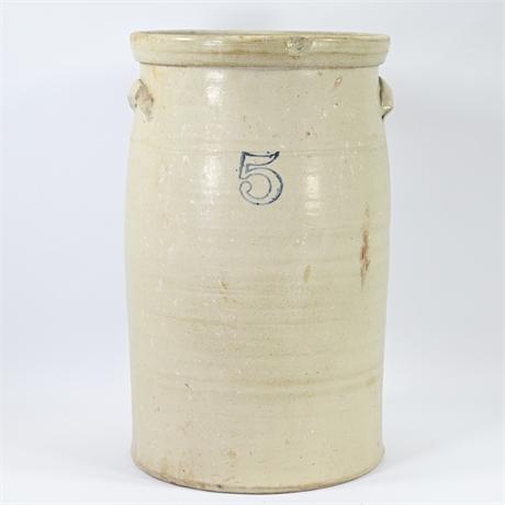 Antique 5 Gallon Salt Glazed Stoneware Churn
