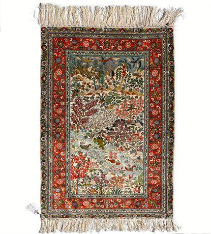 Old Persian Qum Pictorial Rug