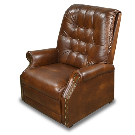 Vintage Faux Leather Pushback Recliner