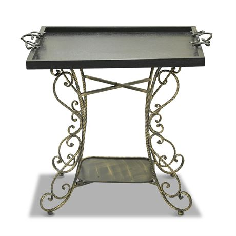 Serving Tray with Iron Stand