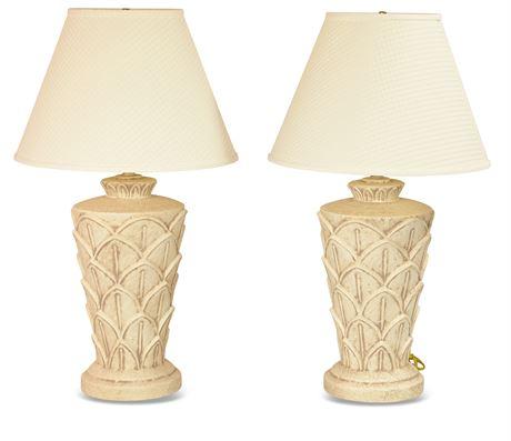 Pair Cast Plaster Lamps