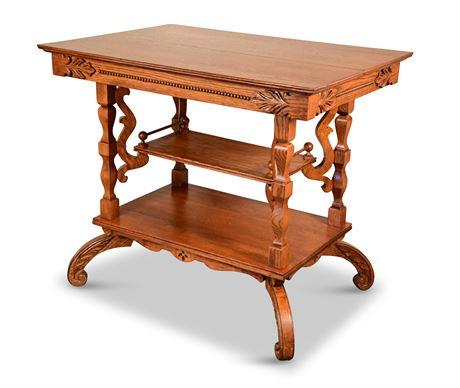 Antique Victorian Carved Oak Parlor Table