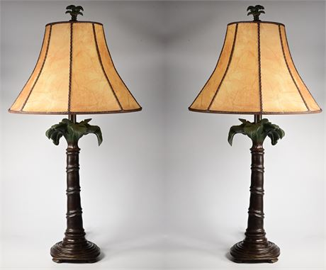 Pair of Palm Tree Themed Table Lamps