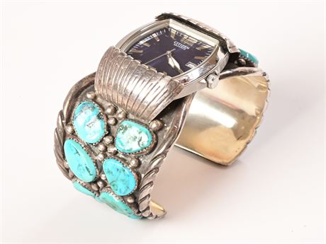 Navajo Turquoise Sterling Watch Cuff
