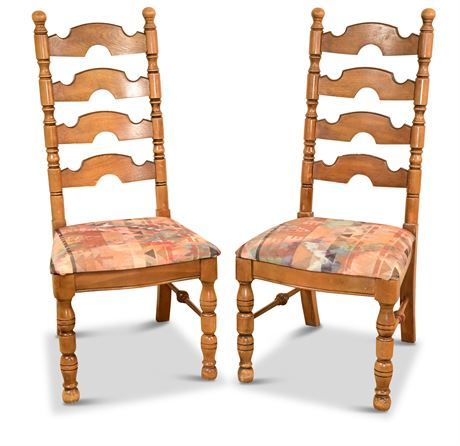 Pair of Vintage Ladder Back Chairs