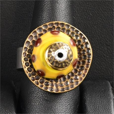 Funky Art Glass Ring, Size 8.5